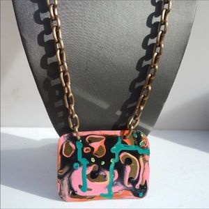 💖Abstract Painting Brass HandmadePendant Necklace